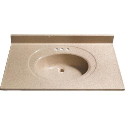 Bertch 37 In. W x 22 In. D Sand Faux Granite Vanity Top with Oval Bowl