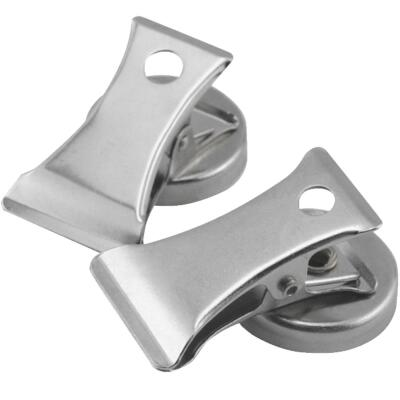 Master Magnetics 1 In. Dia. Chrome Magnetic Note Holder Clip (2-Pack)