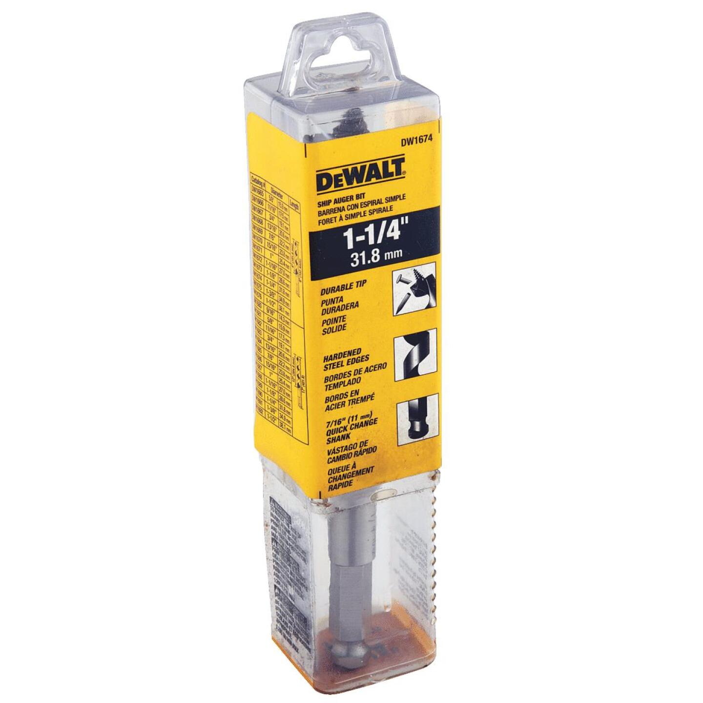 DeWalt Power Ship 1-1/4 In. x 6 In. Quick Change Auger Bit Image 2