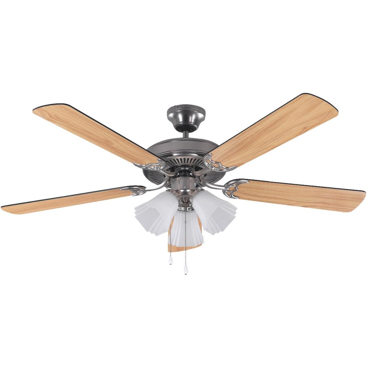 Home Impressions Sherwood 52 In. Brushed Nickel Ceiling Fan with Light Kit Image 1